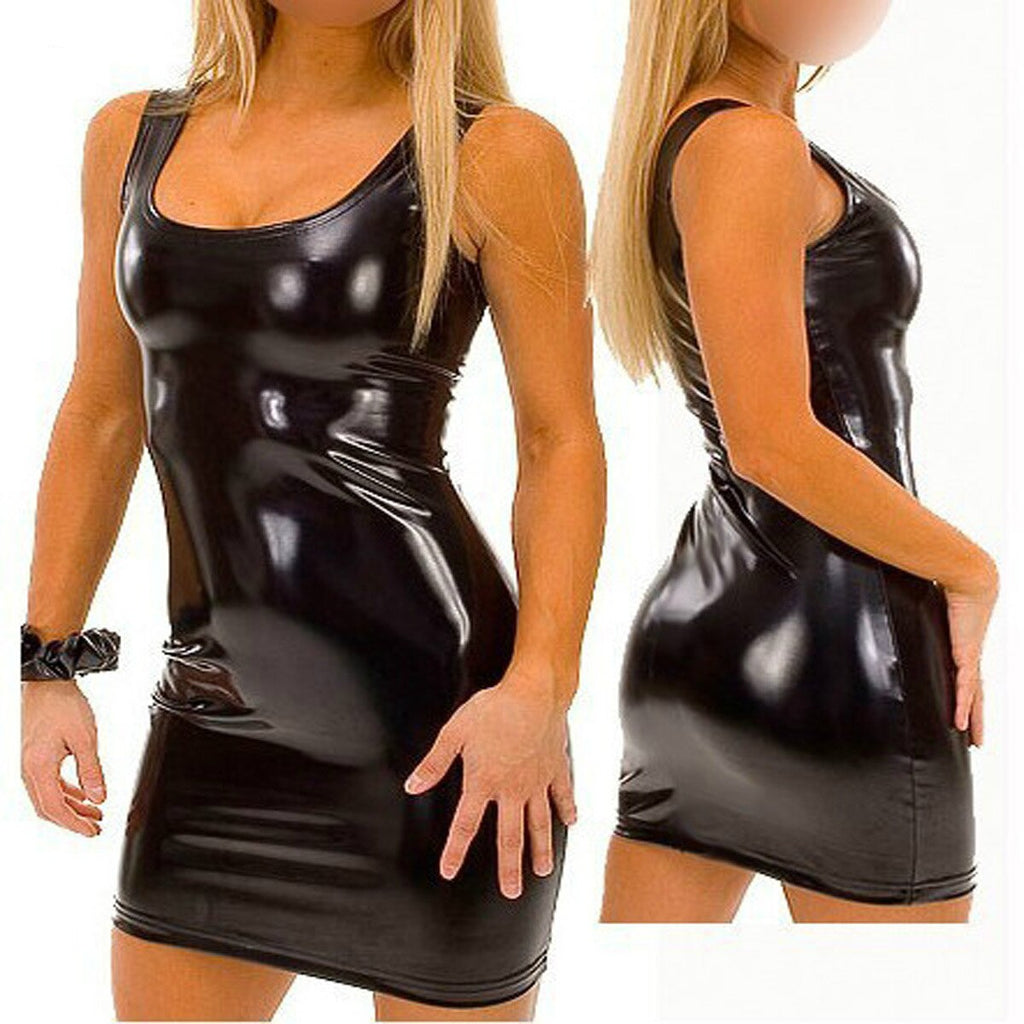 Mini Dress Pu Leather Dress - Halloween USA