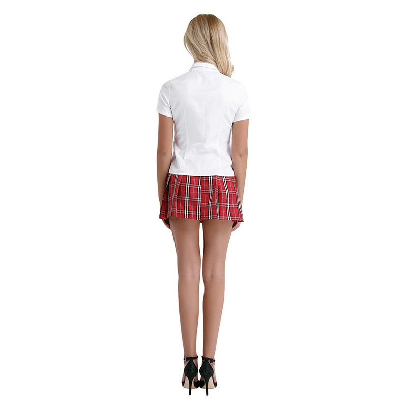 Sexy  School Girl Costume with  Pleated Mini Skirt Tie Suit