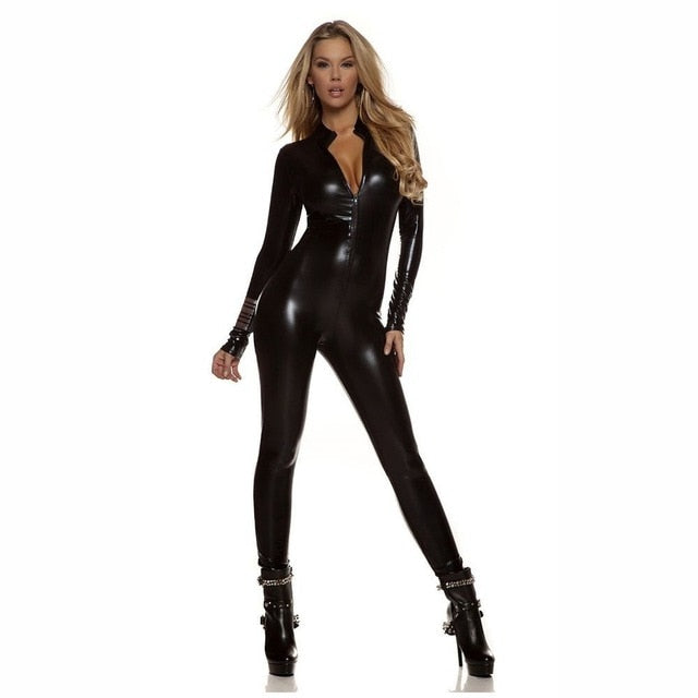 Shiny  Women 's Metallic  Cat Suit