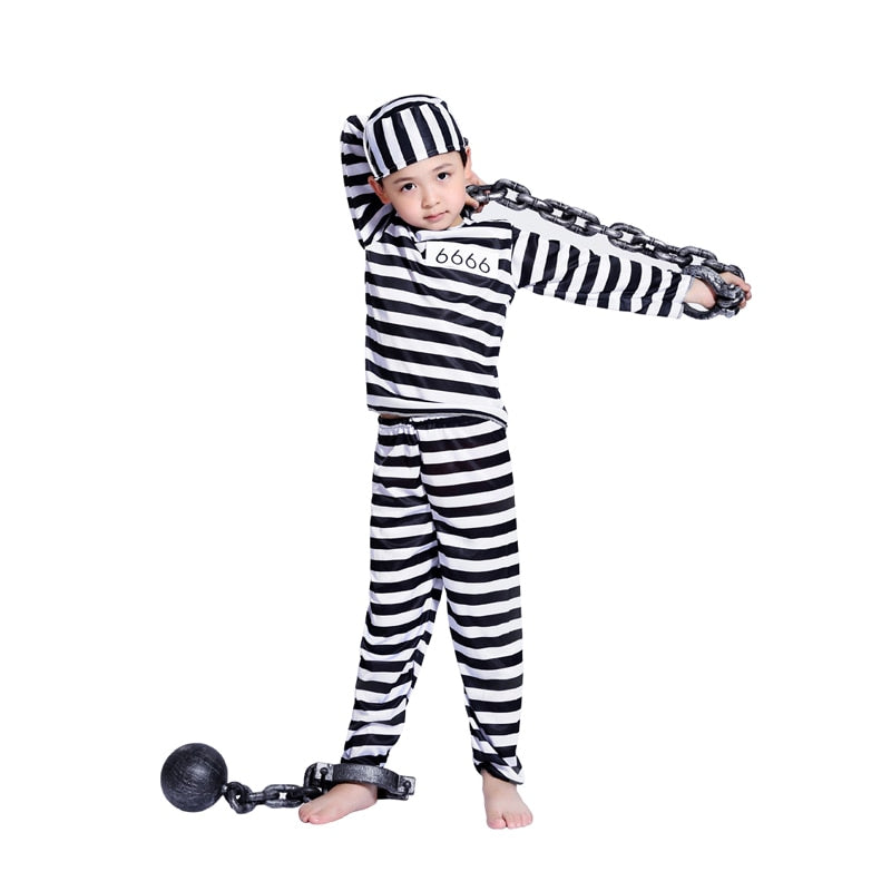 boy striped prisoner costume - Halloween USA