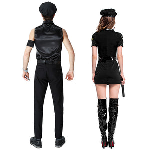 Sexy Couples Black Cop Costumes - Halloween USA