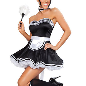 Super Seductive Maid Costume Skirt Apron G-String Sexy Role Play Halloween Club Fancy Dress Exotic Lovely Suits 8194