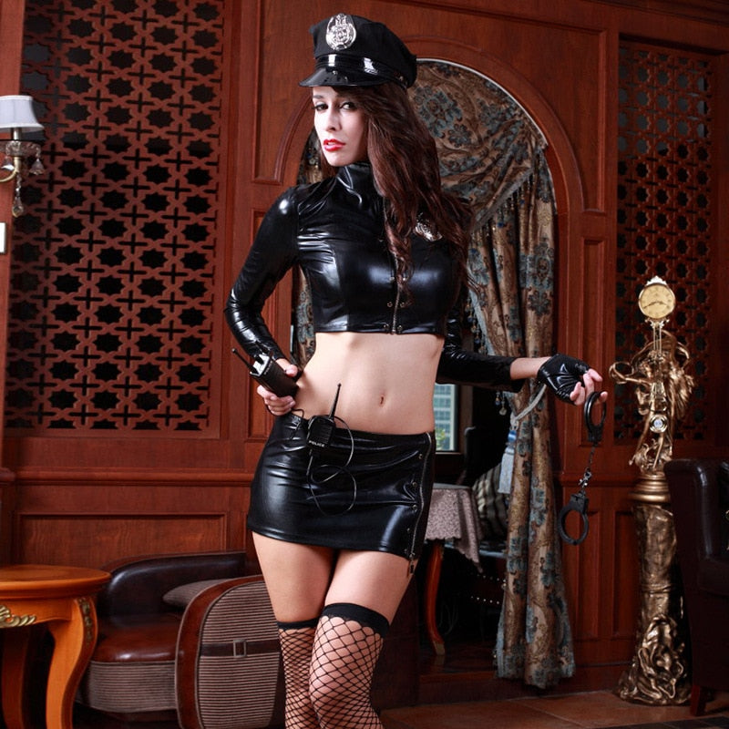 8Pcs Women Fetish Cop Costume - Halloween USA
