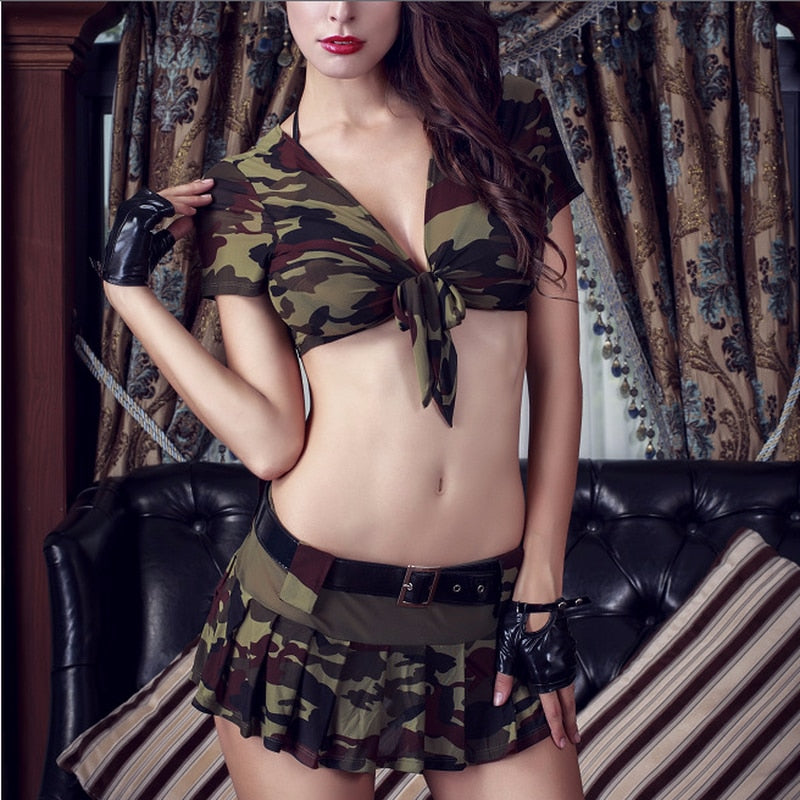 Sexy Army Costume  Military Tops and Skirt - Halloween USA