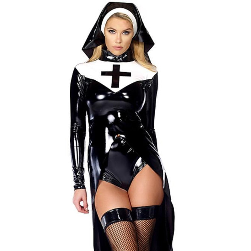 Sexy Wet look Nun Costume  Black Vinyl Leather Uniforms - Halloween USA