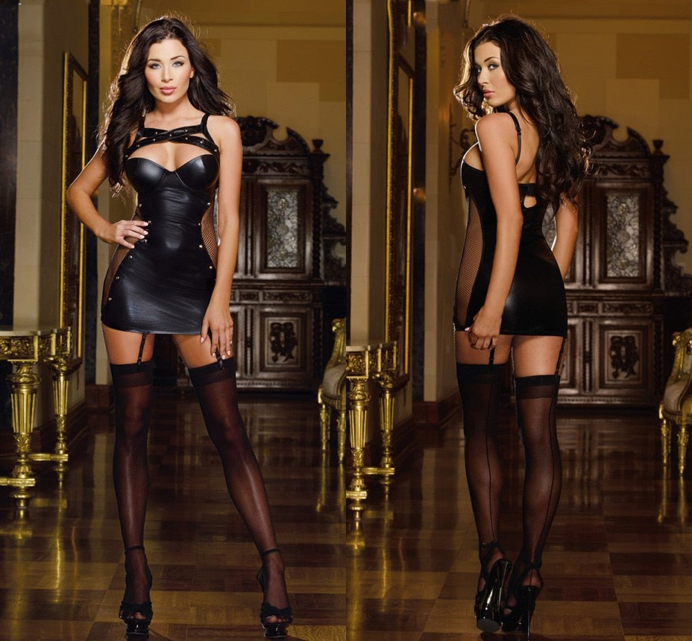 Black Latex  PVC Beyonce Dress - Halloween USA
