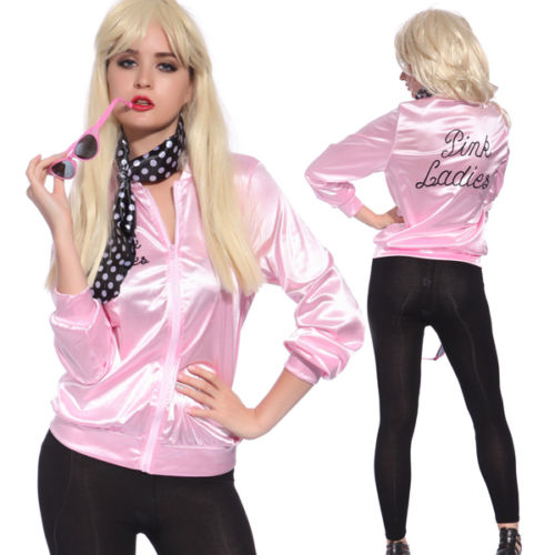 Ladies Satin Jacket Lady 50's Costume Pink Lady Retro 50s Jacket Women Fancy Grease Costume - Halloween USA