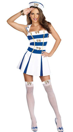 Sexy White Blue Sailor Costume - Halloween USA