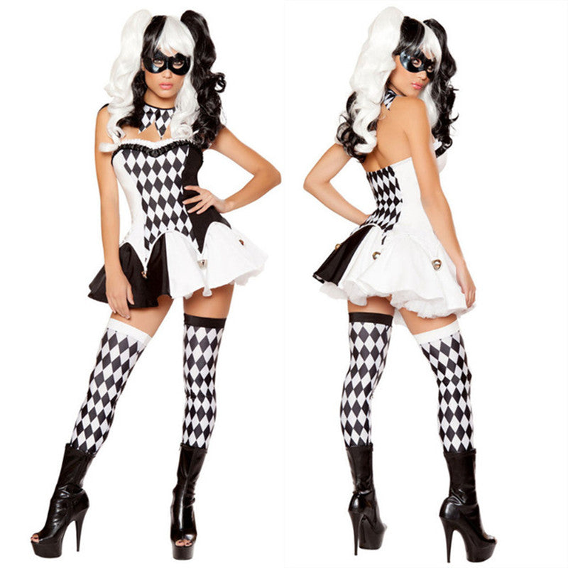 Black White Harlequin Jester Costume - Halloween USA