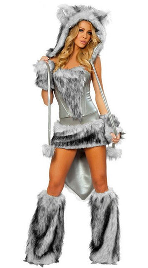 Animal Faux Fur Wolf Costume - Halloween USA