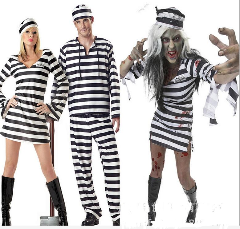 Prison Uniform Costume For  Women  Men and Couples - Halloween USA