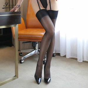 Stockings for Women 13cm Lace Rib Top See Through Smooth - Halloween USA