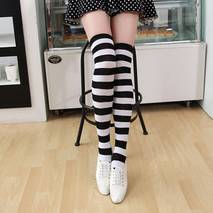 3 Pairs/Lot Stockings Women Thigh High Over Knee Cotton Striped Pattern - Halloween USA