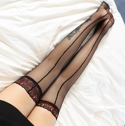 Women Knee-High Lace back Seam Stockings - Halloween USA