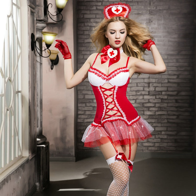 Nurse Lingerie Hot Red Nurse Uniforms - Halloween USA