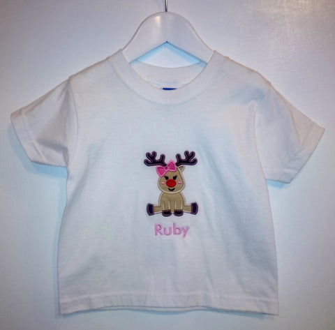 Girls Reindeer Christmas T-shirt