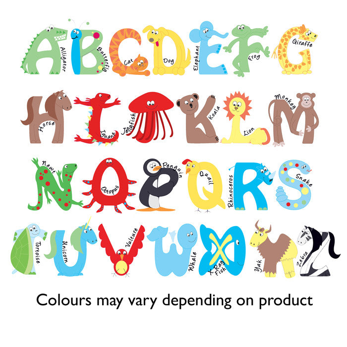 Animal Alphabet Boys Clock