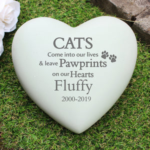 Image of an engraved heart shaped memorial stone for a cat