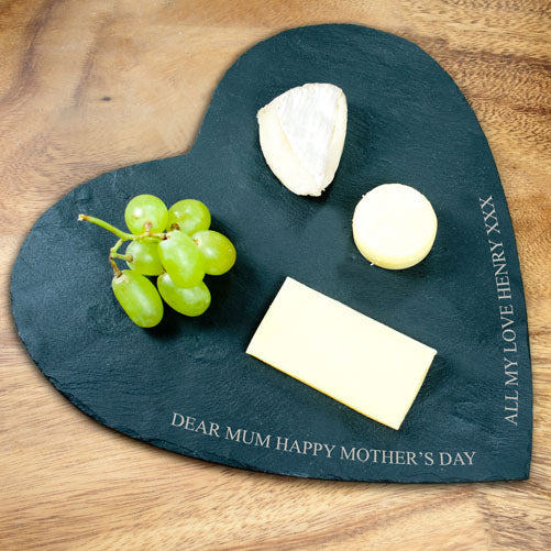 Engraved Heart Shaped Welsh Slate Cheese Board