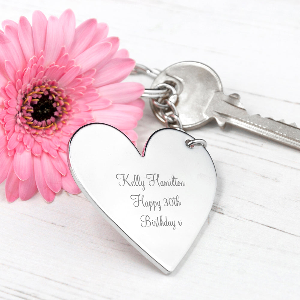 Engraved Silver Plated Heart Keyring