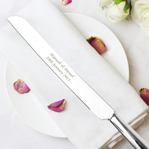 Engraved silver plated wedding cake knife