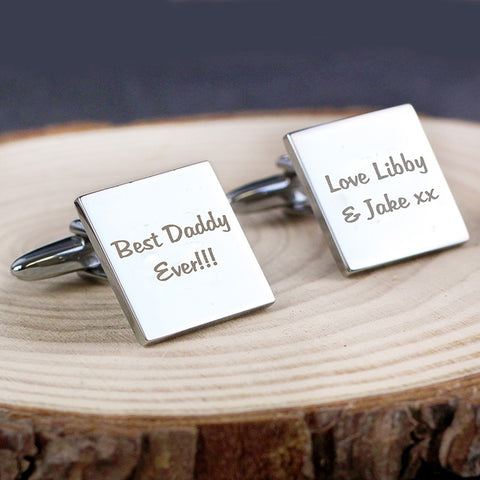 Square Cufflinks with Two Lines of Personalisation