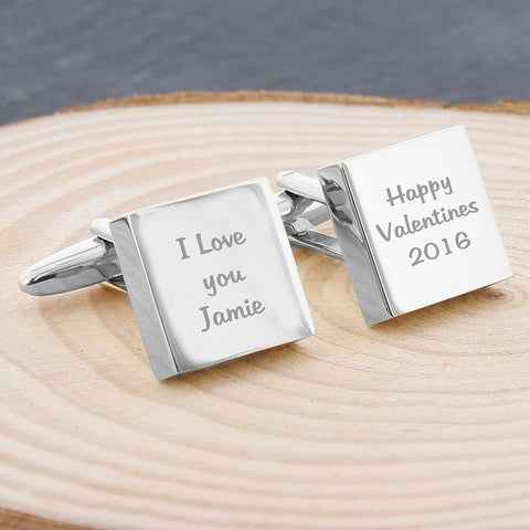 Square Cufflinks with Three Lines of Personalisation