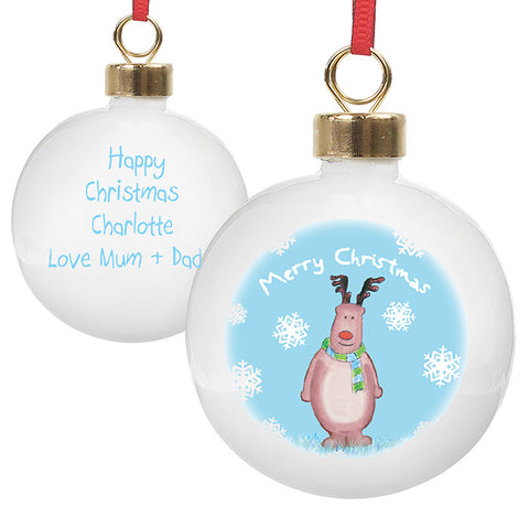 Rudolph in a Snow Scene Christmas Bauble