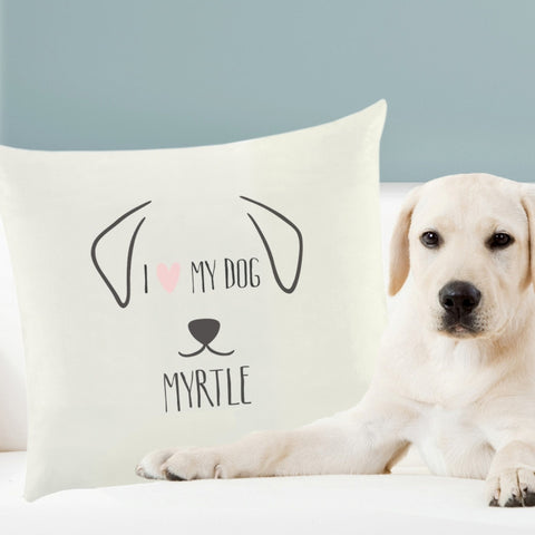Personalised Cushion Cover for a Dog Lover I Love My Dog