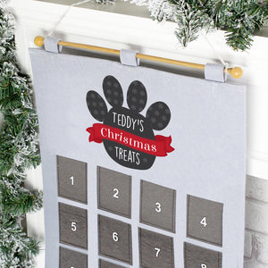 Image of a personalised pet advent calendar for cats or dogs made from grey felt with 24 pockets