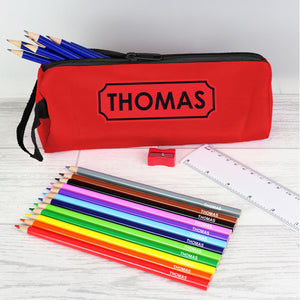 Personalised red pencil case with personalised colouring and HB pencils plus a ruler and pencil sharpener