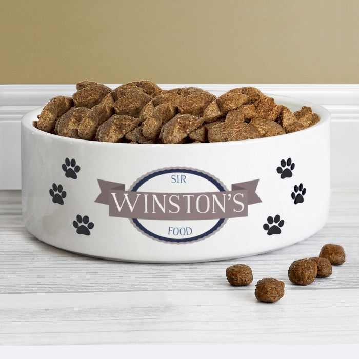 Personalised Cat or Dog Bowl with Blue Paw Print Design