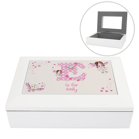 Personalised Jewellery Box White Wood with Fairy Design