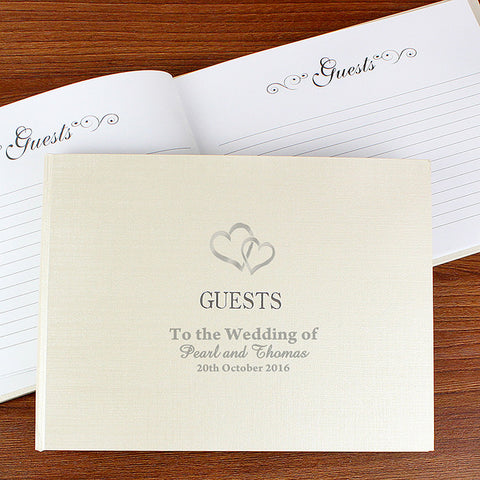 Hardback Guest Book with Hearts Design