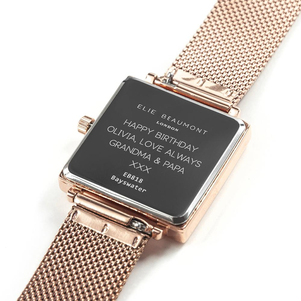 Personalised Elie Beaumont Bayswater Rose Gold Watch Engraved with Sans Serif Font