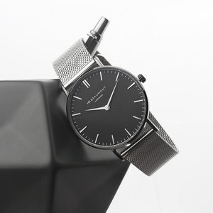 Personalised Mr Beaumont Metallic Silver Watch with Black Face
