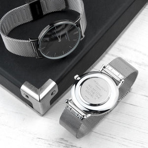 Personalised Mr Beaumont Metallic Silver Watch with Black Face Engraved with Sans Serif Font Option