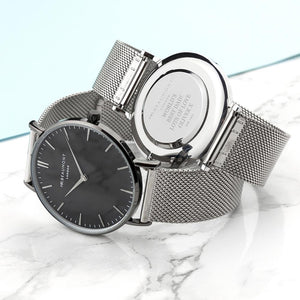 Personalised Mr Beaumont Metallic Silver Watch with Black Face Engraved with Serif Font Option