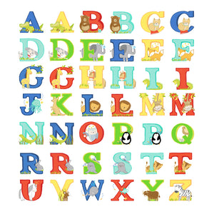 Illustrations of our animal alphabet used to make up names for children in printed name frames. Each letter is printed in bright colours and intertwined with a drawing of an animal.
