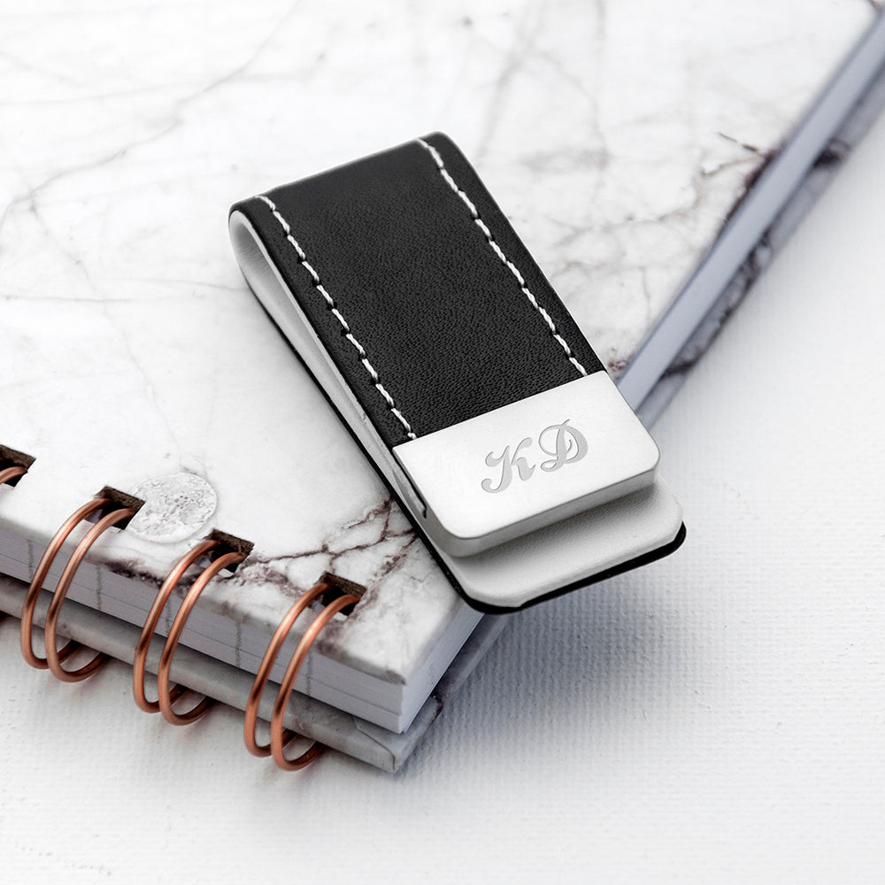 Personalised Black Leather Money Clip with Script Font