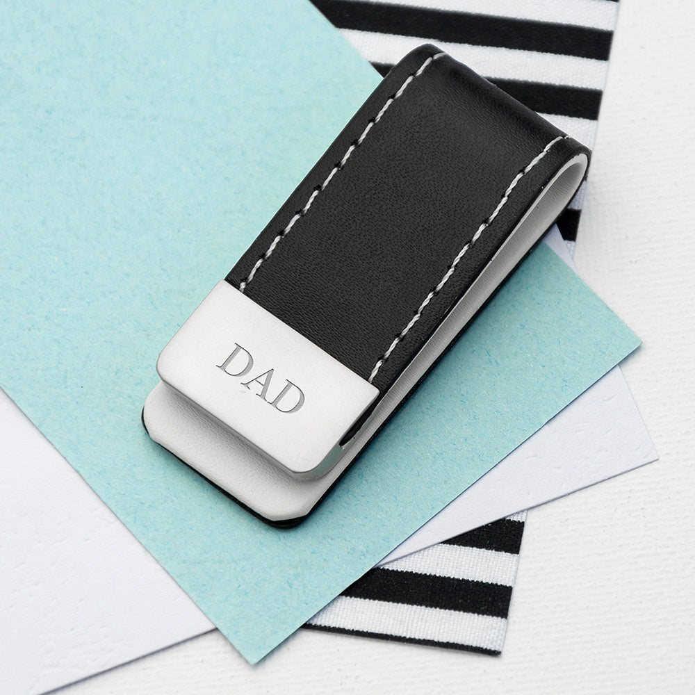 Personalised Black Leather Money Clip with Serif Font