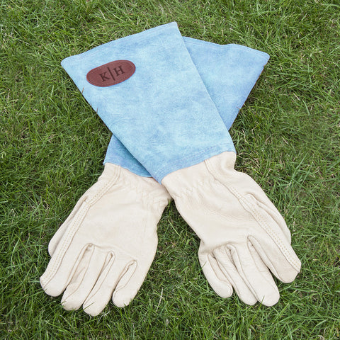 Personalised Leather Gardening Gloves Available in Blue