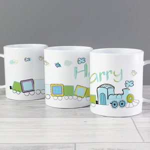 Image of a plastic BPA free childs personalised cup. The cup is white and has an image of a fun cartoon drawing of a blue and green train pulling a number of carriages. The cup can be personalised with a name of up to 12 characters which will be printed in green and blue coming from the steam from the train's funnel.