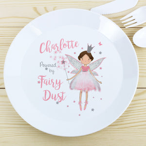 Image of a white plastic BPA free childs personalised plate. The plate is white with a rim and in the centre of the plate is a cartoon drawing of a green tractor with a dog in the cab. Beneath the image of the tractor the plate can be personalised with a name up to 12 characters in a black font. The plate is part of a set and comes with a cup and cutlery set in the same theme.