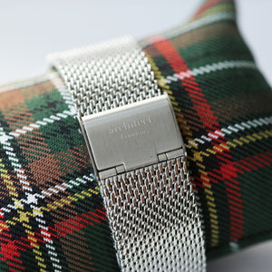 Image of the stainless steel mesh strap for a watch by The Architect Watch Company London.