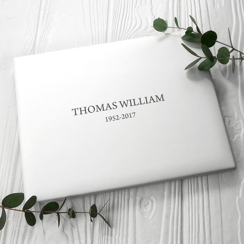 Engraved White Leather Memorial Book Large Size