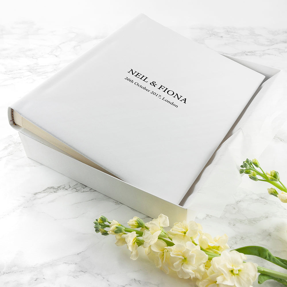 Large Sized Engraved White Leather Photo Album Available in 3 Sizes