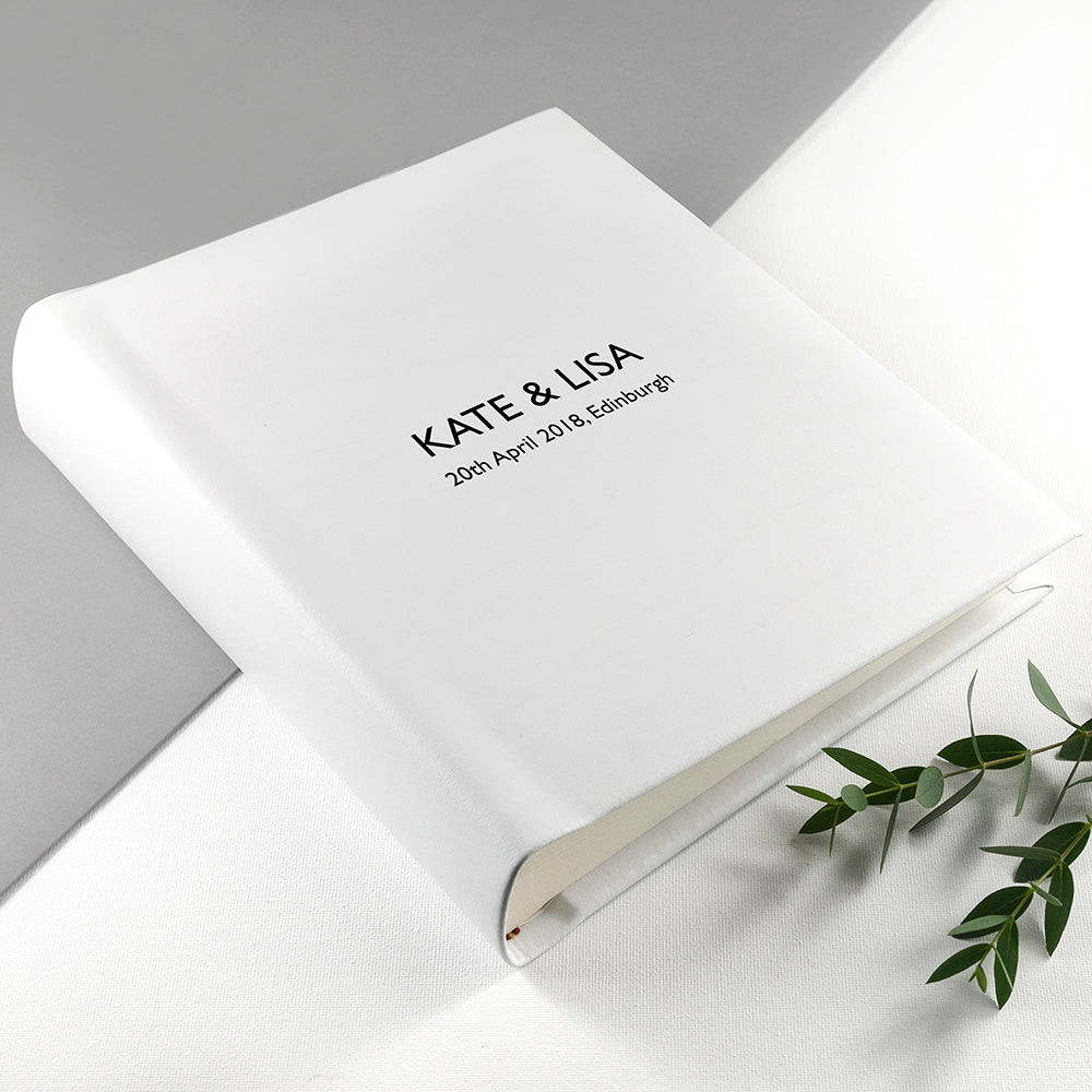 Medium Sized Engraved White Leather Photo Album Available in 3 Sizes