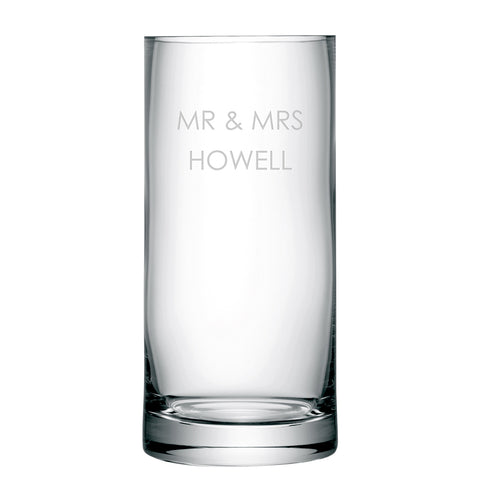 Personalised Glass LSA Column Vase in Sans Serif Font