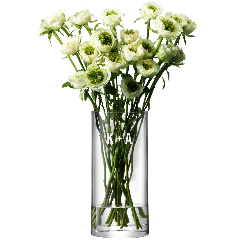 Monogrammed LSA Glass Column Vase Cross Design